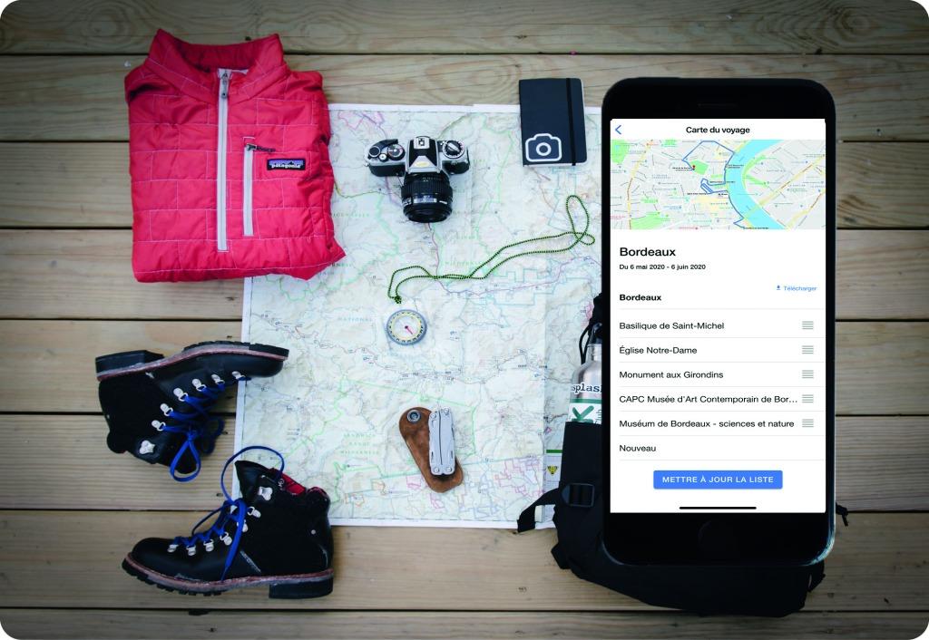 Ecran planification des itinéraires de vos voyages application mobile trip unik
